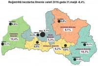 Reģistrētā bezdarba līmenis Latvijā maijā pazeminājies līdz 8,4%