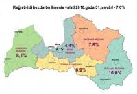 Latvijā reģistrētā bezdarba līmenis janvārī pieaudzis līdz 7%