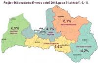 Bezdarba līmenis Latvijā oktobra beigās saglabājās 6,1% līmenī