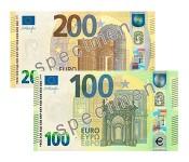 Nākamnedēļ apgrozībā nonāks jaunās Eiropas sērijas 100 un 200 eiro banknotes