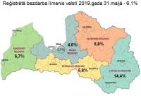 Latvijā reģistrētā bezdarba līmenis maijā samazinājies līdz 6,1%