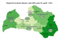 Latvijā bezdarba līmenis aprīlī pieaudzis līdz 8%; visvairāk tas palielinājies Rīgā